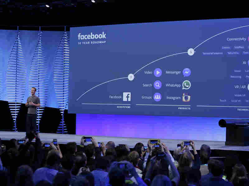 Facebook CEO Mark Zuckerberg talks about the company's 10-year roadmap during his keynote address Tuesday at the F8 Facebook Developer Conference in San Francisco.