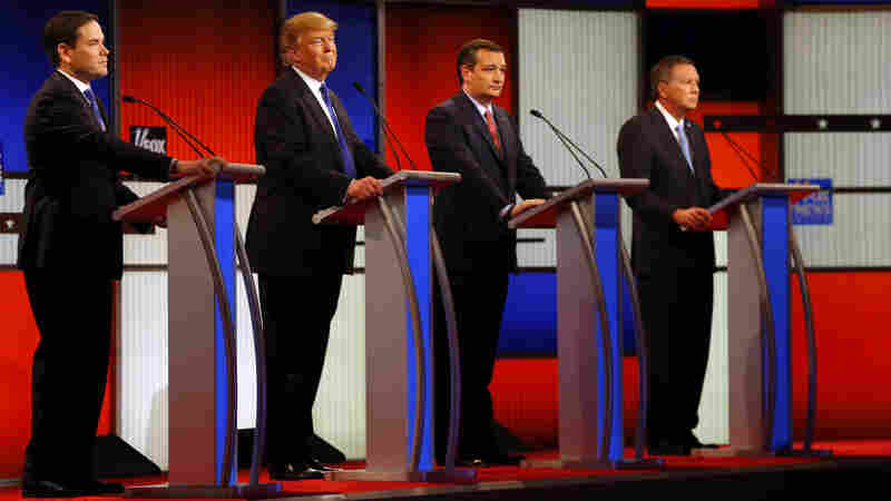 At a March 3 Republican presidential primary debate, candidates (from left) Marco Rubio, Donald Trump, Ted Cruz and John Kasich appear on stage at Fox Theatre in Detroit. Rubio later dropped out of the race.