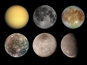 (Top row, left to right) Titan, Earth's moon, Europa and Enceladus. (Bottom row, left to right) Callisto, Charon, Ariel and lo.