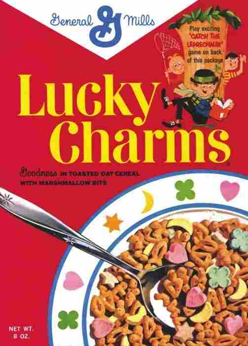 A box of Lucky Charms cereal.