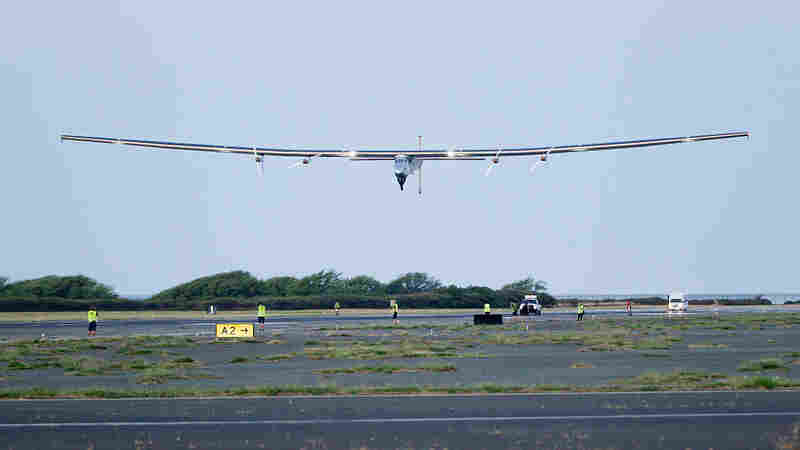 The Solar Impulse 2 airplane, piloted by Bertrand Piccard, takes off from Kalaeloa Airport in Kapolei, Hawaii, on April 9 for a test and training flight.