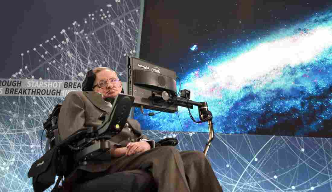 """Stephen Hawking discusses the """"Breakthrough Starshot"""" space exploration initiative during a news conference Tuesday at One World Observatory in New York City."""