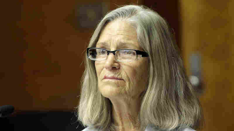 Former Charles Manson follower Leslie Van Houten is seen during a hearing on Thursday before the California Board of Parole Hearings at the California Institution for Women in Corona, Calif.