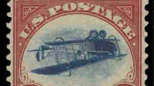 """This undated photo shows a 1918 """"inverted Jenny"""" stamp. Stolen in 1955, the stamp surfaced last week at the New York auction house Spink, USA."""