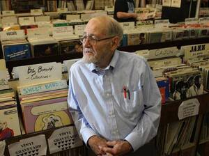 Owner Bob Koester at the Jazz Record Mart in Chicago, which closed last month.