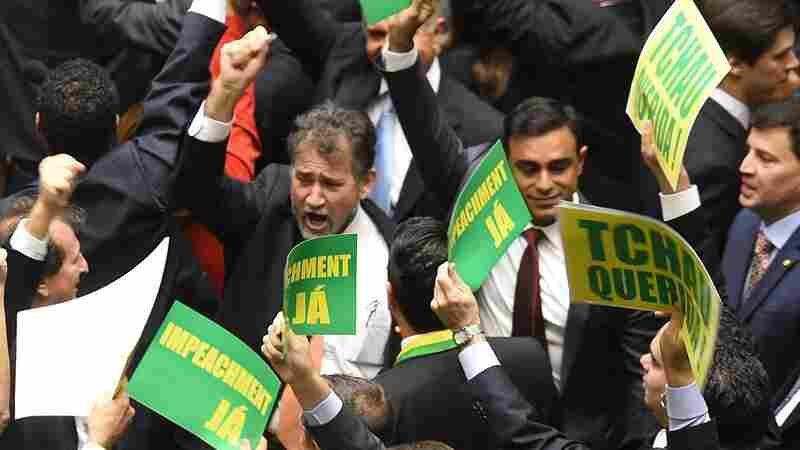 Lower house members who support impeaching President Dilma Rousseff demonstrate during Friday's session.