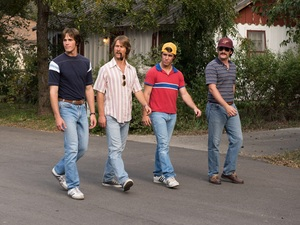 Blake Jenner, at left, plays Jake in Everybody Wants Some!!, but he's also a stand-in for director Richard Linklater.