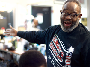 Barber Leroy Robinson Jr., one of the participants of the Sharp Insight project, has a shop on Lancaster Avenue in West Philadelphia.
