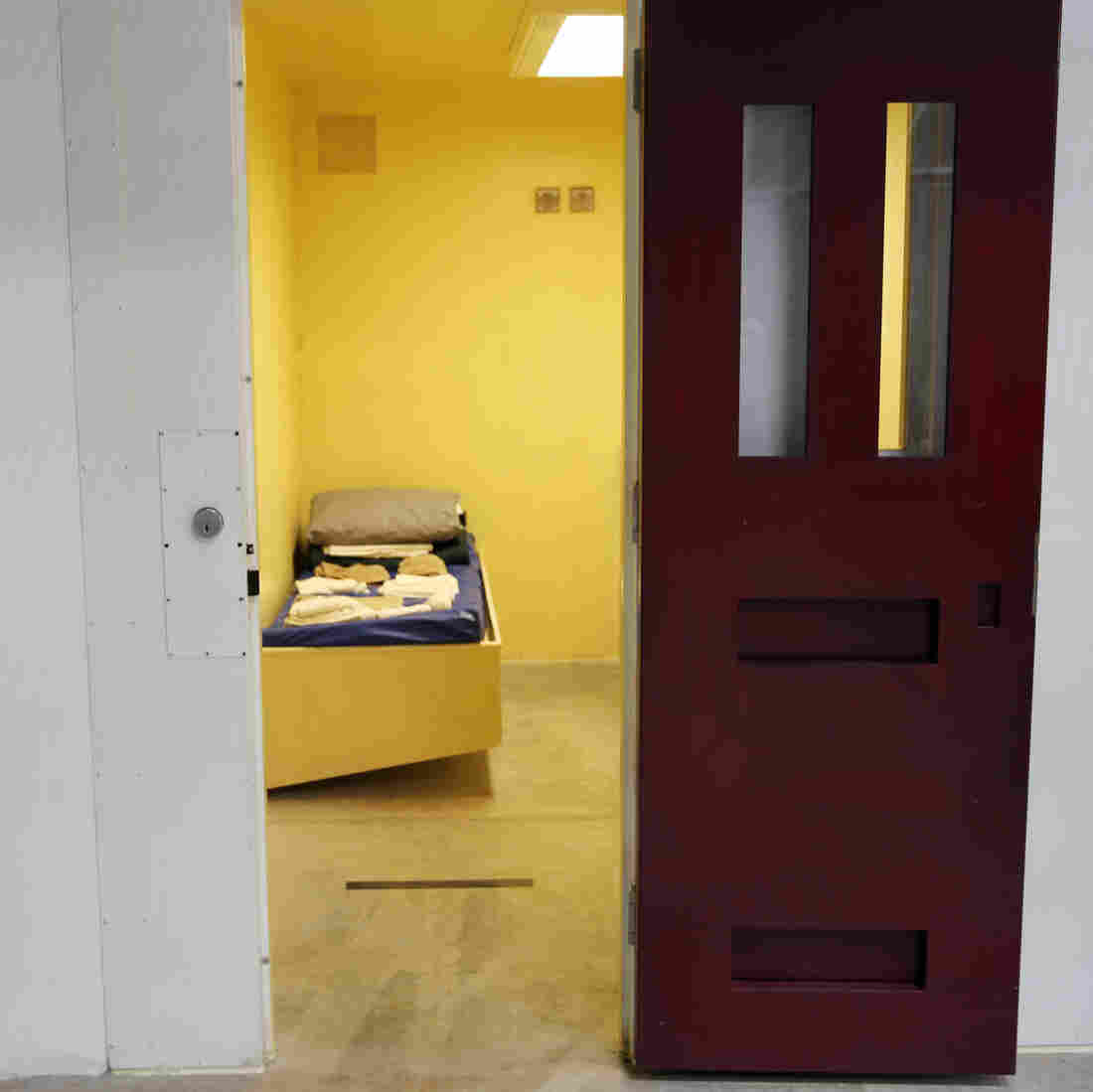 A detainee cell in Camp 6 inside the U.S. detention center at Guantanamo Bay, Cuba in February.