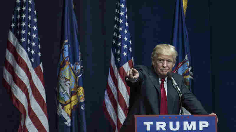 Donald Trump speaks at a campaign rally April 6 in Bethpage, N.Y. While New York was key for Trump in racking up delegates, there aren't many contests remaining and he is still short of a majority.