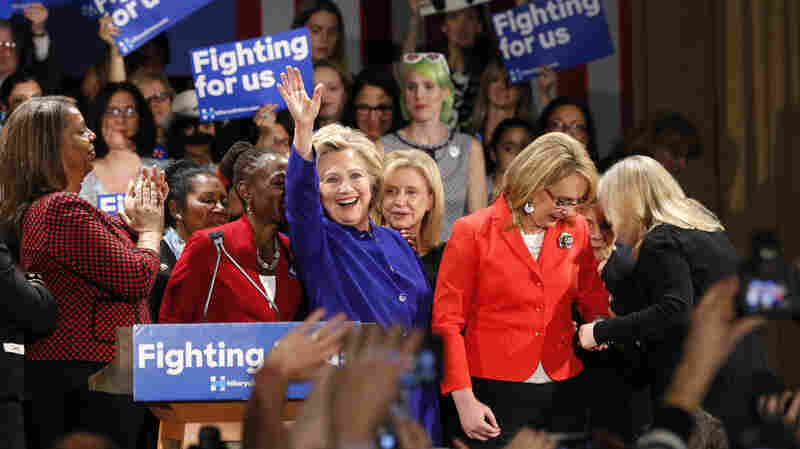 Hillary Clinton waves to a crowd at a Women for Hillary event at the New York Hilton hotel Monday in Midtown Manhattan.