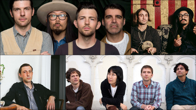 Clockwise from upper left: The Avett Brothers, The Low Anthem, Deerhoof, Jaye Bartell (Courtesy of the artists)