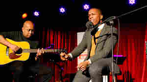 Guitarist Robin Macatangay (L) and Leslie Odom Jr. perform on Ask Me Another, live at the Bell House. (R).