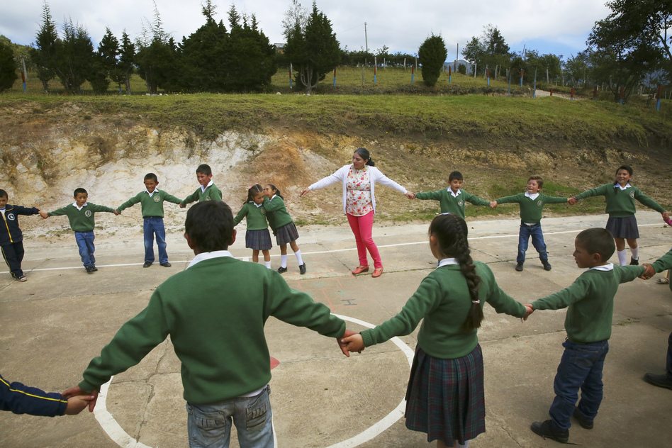 At a one-room school in the Colombian Andes, students learn <em>convivencia </em>-- which means, more or less, the art of living together. (Steve Drummond/NPR)