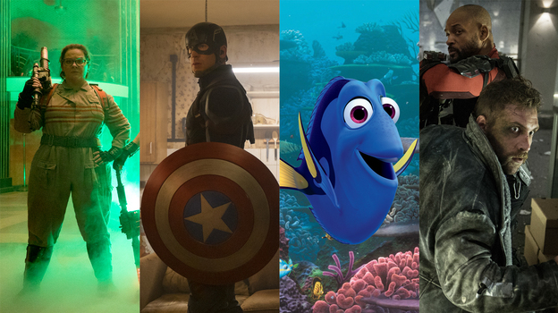 Left to right: Melissa McCarthy in Ghostbusters, Chris Evans in Captain America: Civil War, Ellen DeGeneres in Finding Dory, Will Smith and Jai Courtney in Suicide Squad. (Hopper Stone/Sony Pictures; Zade Rosenthal/Marvel; Courtesy of Pixar; Courtesy of Warner Bros./Raptac-Dune)