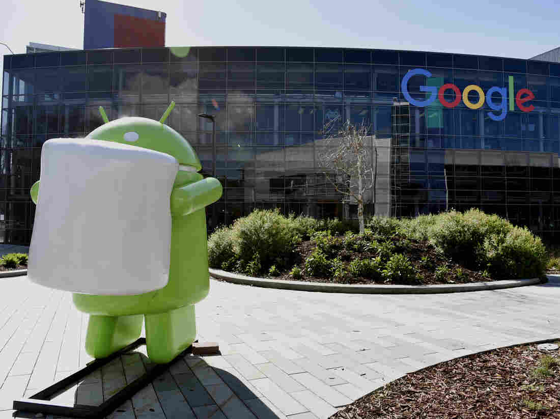 The sculpture of the Android mascot sits at the Google headquarters in Mountain View, Calif. The Android security chief says it's time for both sides of the encryption debate to provide real information, not just anecdotes.