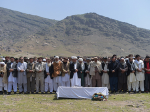 On Wednesday, Afghan mourners offer funeral prayers for a victim killed in Tuesday's bomb blast in Kabul. The Taliban said it carried out the brazen assault near the defense ministry, which would mark the first major Taliban attack in the Afghan capital since the insurgents announced the start of this year's fighting season.