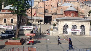 Normally crowded, Istanbul's Hagia Sophia now sees barely a trickle of tourists.