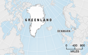 Greenland's geographic relation to Denmark.