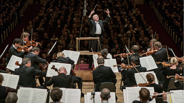 "Conductor Mariss Jansons led the Bavarian Radio Symphony Orchestra at Carnegie Hall Wednesday in Shostakovich's Symphony No. 7, ""Leningrad."" (AJ Wilhelm for NPR)"