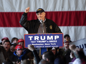 Carl Paladino speaks before a rally for Republican presidential candidate Donald Trump on April 10, 2016, in Rochester, N.Y.