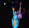 Prince performs during the halftime show at Super Bowl XLI  in 2007.