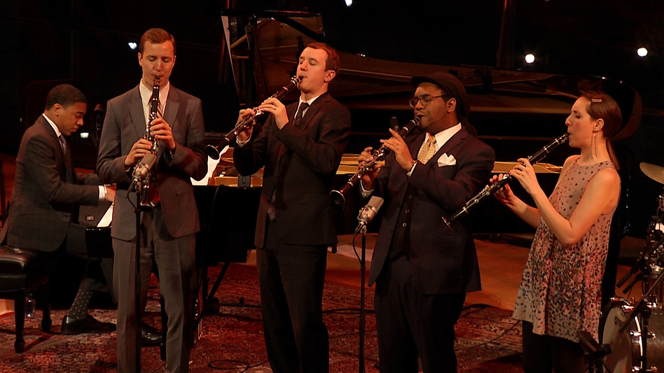 Will Anderson, Peter Anderson, Patrick Bartley and Janelle Reichman perform at Jazz at Lincoln Center in tribute to Benny Goodman. (NPR)