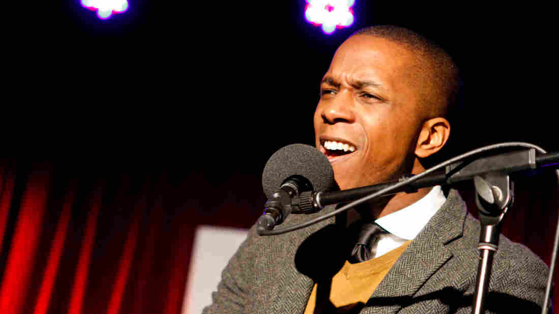 Leslie Odom Jr. performs on Ask Me Another at the Bell House in Brooklyn, New York.