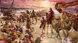 "The Passage of the Red Sea, illustration by William Hole (1846-1917). Exodus 14:16: ""but lift thou up thy rod, and stretch out thine hand over the sea, and divide it: and the children of Israel shall go on dry ground through the midst of the sea."""