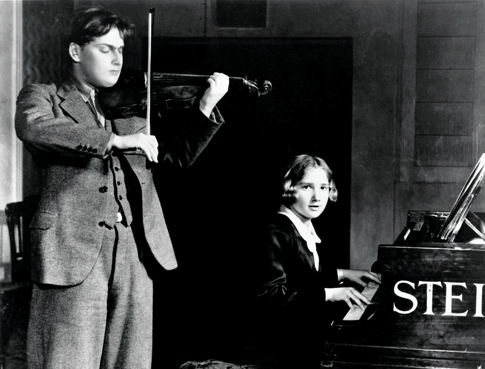 Menuhin's sister Hephzibah, also child prodigy, became the violinist's frequent musical partner on stage and in the recording studio.  (Warner Classics)