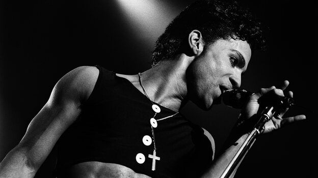 Prince on stage in The Netherlands in 1986, during the tour for his album Parade.  (Getty Images)