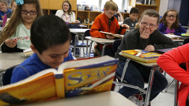A social studies class at Campton Elementary School in Wolfe County, Ky. (NPR)