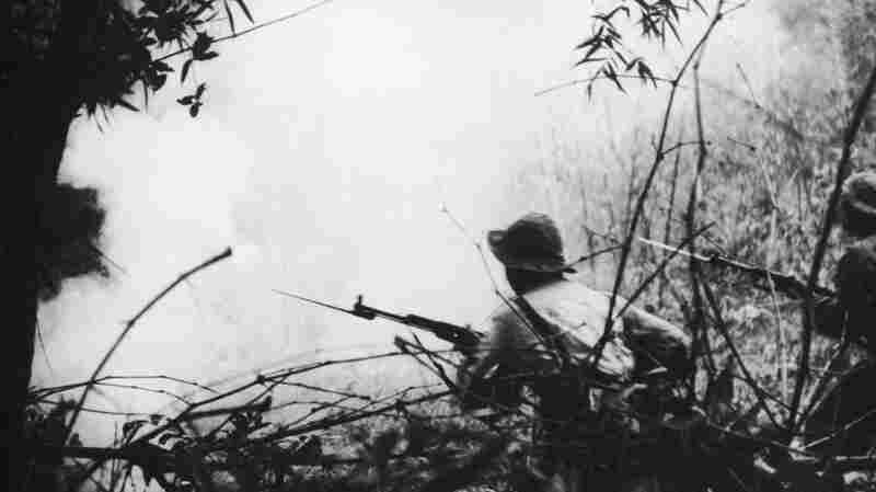 Viet Cong soldiers going into battle near Hue during the Vietnam War, circa 1968. Years later, the war shaped how Ocean Vuong grew up.