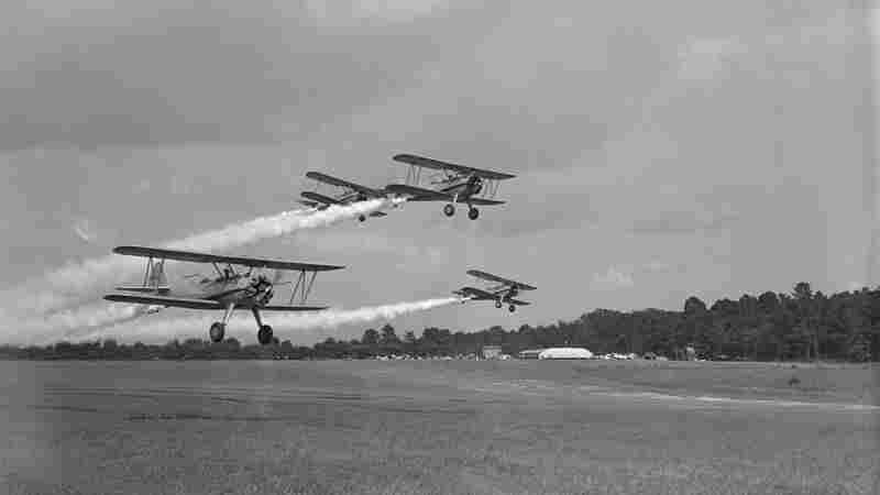 In the 1940s, planes demonstrate DDT spraying at Congressional Airport, outside of Washington, D.C. They were part of a fleet headed to Greece to target mosquito breeding areas.