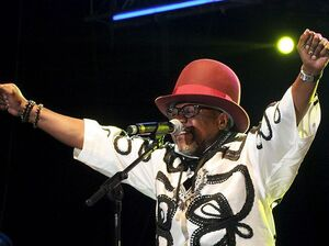 Congolese singer Papa Wemba performing Saturday in Abidjan, Ivory Coast, shortly before collapsing onstage. He died before reaching the hospital early Sunday.