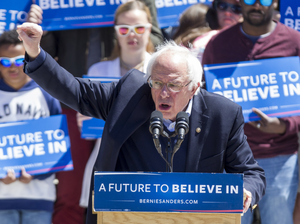 Bernie Sanders speaks during a rally at Roger Williams Park on April 24 in Providence, R.I.