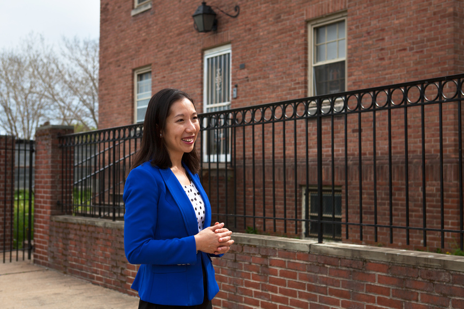 Dr. Leana Wen, Baltimore City health commissioner, visits a newly opened Safe Streets center in the Sandtown-Winchester neighborhood in West Baltimore. (Emily Bogle/NPR)