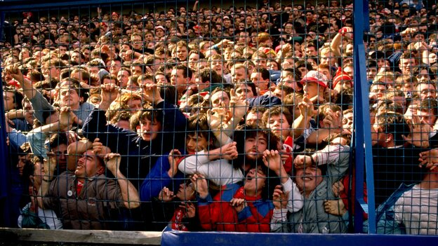 Liverpool supporters were crushed against a barrier in 1989, in what became Britian's worst sports disaster. Some 96 fans died in the incident at the Hillsborough Stadium in Sheffield, England. (Getty Images)