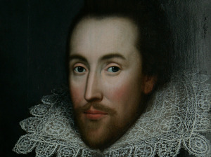 A portrait of William Shakespeare is seen in central London in 2009.