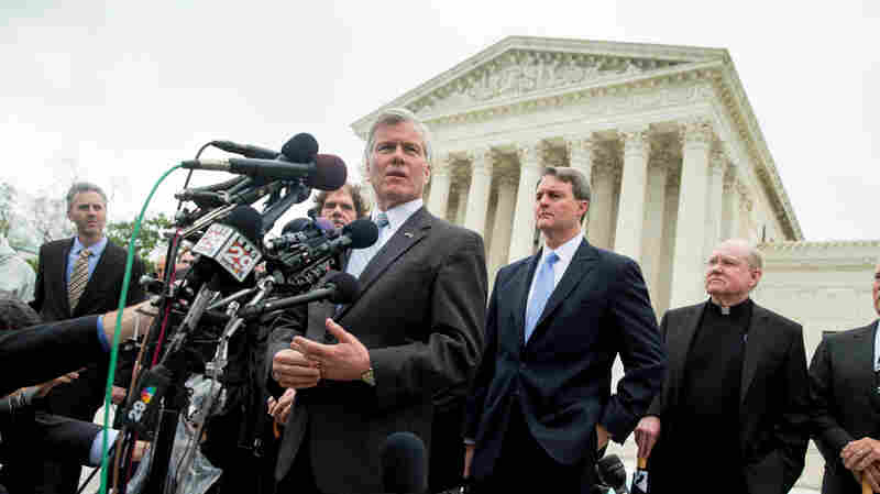 Former Virginia Gov. Bob McDonnell speaks outside the Supreme Court in Washington on Wednesday after the justices heard oral arguments on the corruption case against him.