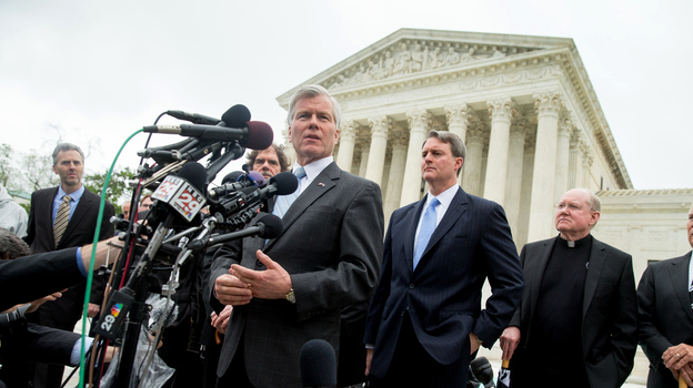 Former Virginia Gov. Bob McDonnell speaks outside the Supreme Court in Washington on Wednesday after the justices heard oral arguments on the corruption case against him. (AP)