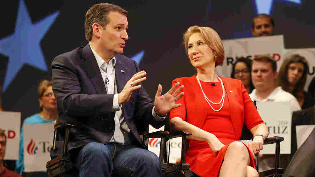 Republican presidential candidate, Sen. Ted Cruz, R-Texas, speaks to Carly Fiorina while taping an interview with...</p>					<div class=