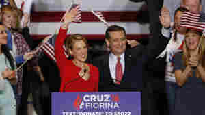 Carly Fiorina and Ted Cruz wave to an Indianapolis crowd after Cruz announced that Fiorina will be his running mate — if he wins the nomination.