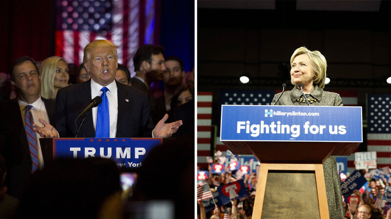 Donald Trump and Hillary Clinton speak to supporters while celebrating multiple primary victories across the Northeast on Tuesday night.