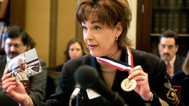 Stacy Bannerman testifies before the House Appropriations Subcommittee on Military Quality of Life and Veterans Affairs in 2006. (CQ-Roll Call, Inc./Getty Images)