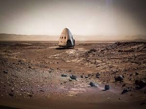 "An artist's rendering of the ""Red Dragon"" capsule that SpaceX is planning to land on the surface of Mars — perhaps sometime in the next two years."