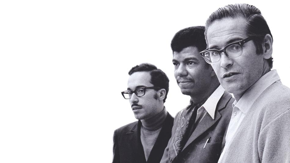 The Bill Evans Trio (Eddie Gomez, Jack DeJohnette and Bill Evans) in 1968. (Courtesy of Resonance Records)
