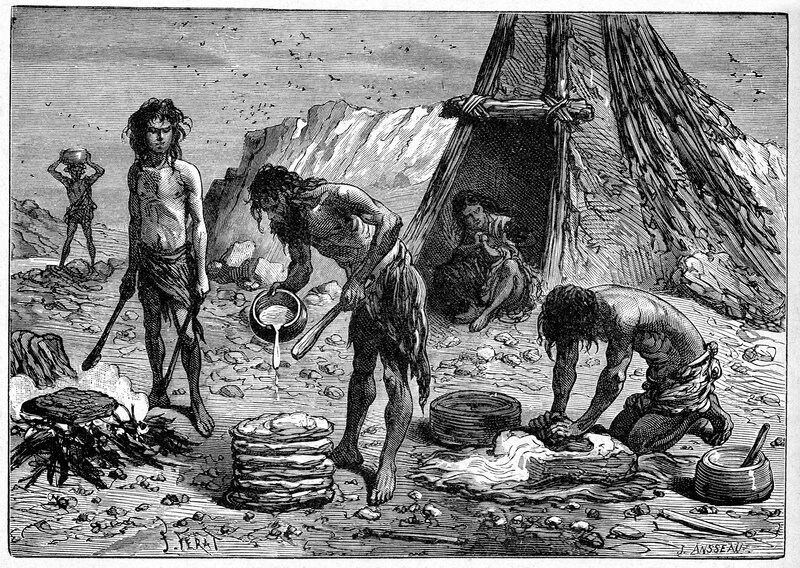 "Early humans preparing food — depicted in an engraving from ""Grands Hommes et Grands Faits de l'Industrie"" circa 1880."