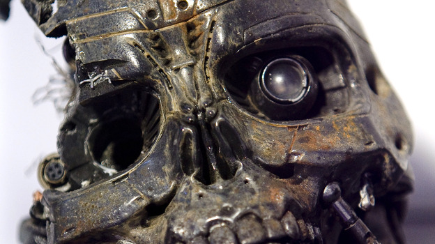 The robotic skull of a T-600 cyborg used in the movie Terminator 3. (Getty Images)