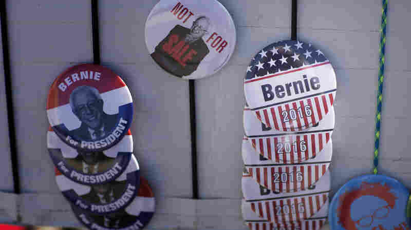 Campaign gear for sale before a campaign rally for Bernie Sanders in Oklahoma City, Oklahoma in February.